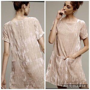 Anthropologie Floreat tan velvet dress L